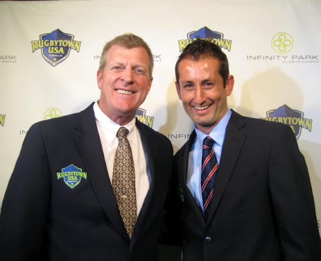 Major League Rugby CBS Sports Network announcers Dallen Stanford and Brian Vizard