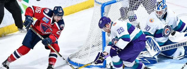 South Carolina Stingrays forward Dylan Margonari tries to score on Orlando Solar Bears goaltender Cal Heeter