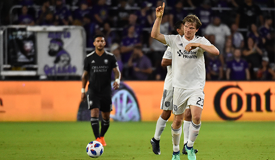 Florian Jungwirth of the San Jose Earthquakes celebrates one of his two goals Saturday night