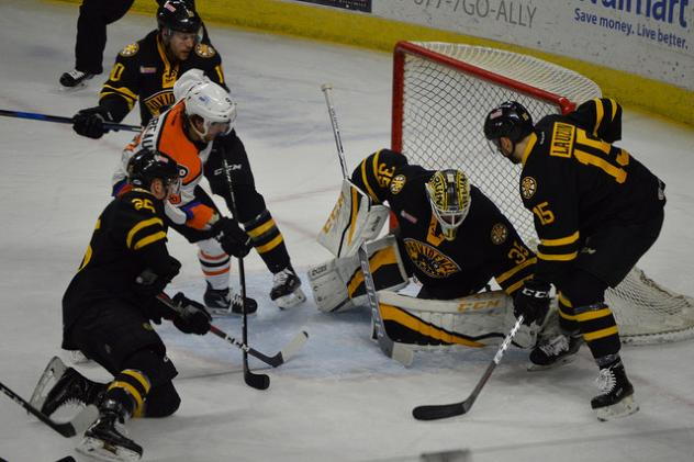 Lehigh Valley Phantoms forward Cole Bardreau in the midst of the Providence Bruins defense