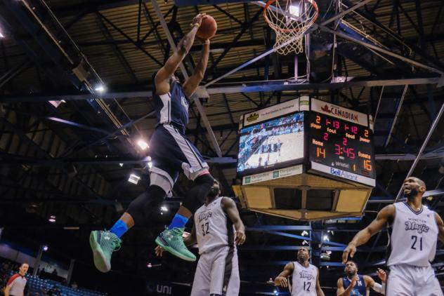 Rhamel Brown of the Halifax Hurricanes skies for a dunk against the Moncton Magic