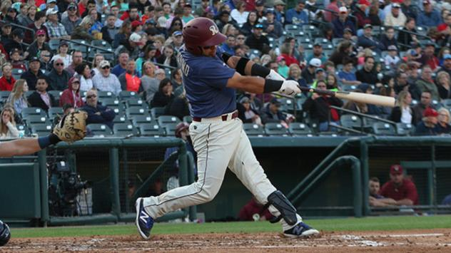 Frisco RoughRiders catcher Jose Trevino socks one of his two home runs