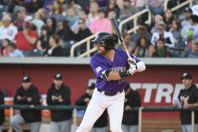 Albuquerque Isotopes outfielder Mike Tauchman waits for a pitch