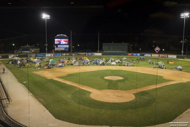 Camping out at Joliet Route 66 Stadium, home of the Joliet Slammers