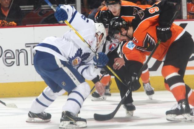 Toronto Marlies face off against the Lehigh Valley Phantoms in Game 3