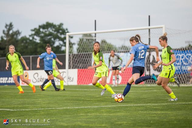Sky Blue FC takes aim at the Seattle Reign FC goal