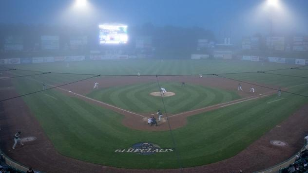 Fog rolls into FirstEnergy Park, home of the Lakewood BlueClaws