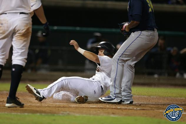 Chris Hess of the Charleston RiverDogs slides home with the winning run