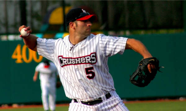 Frontier League Hall of Famer Andrew Davis with the Lake Erie Crushers