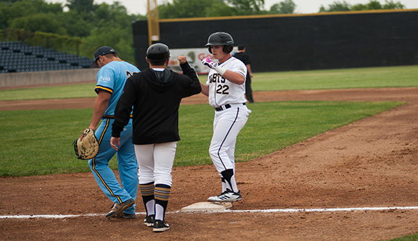 Rockford Rivets third baseman Cade Bunnell at first