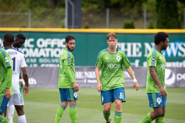 David Estrada (center left) and Sakari Carter (center right) of Seattle Sounders FC 2 were recognized by the USL for their Week 13 performances