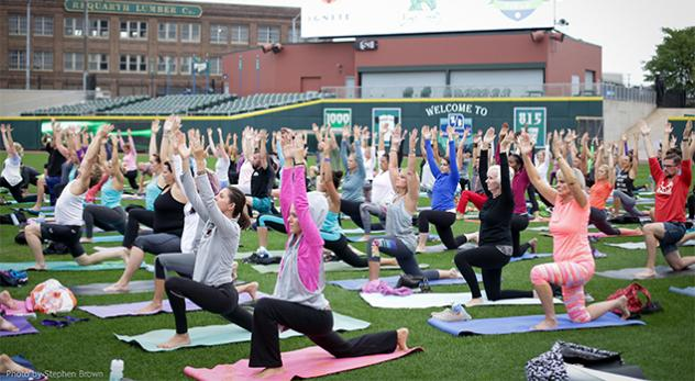 Dayton Dragons Yoga in the Outfield Event