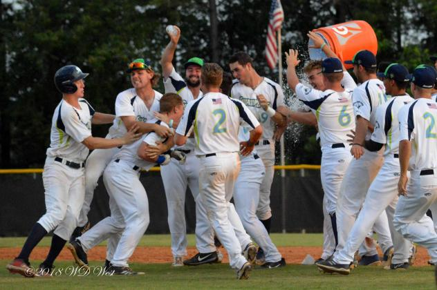Fayetteville SwampDogs celebrate a walk-off win