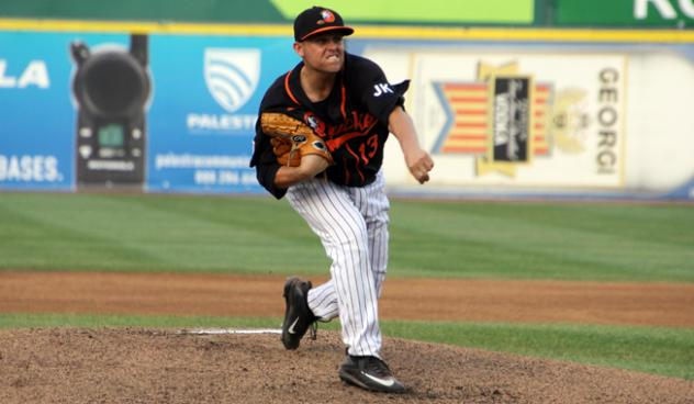 Long Island Ducks pitcher Jake Fisher delivers