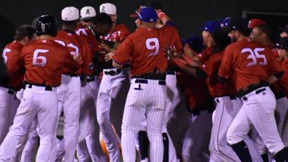 Midwest League East All-Stars celebrate a walk-off win