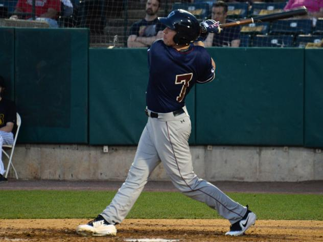 Aaron Dudley of the Somerset Patriots takes a swing