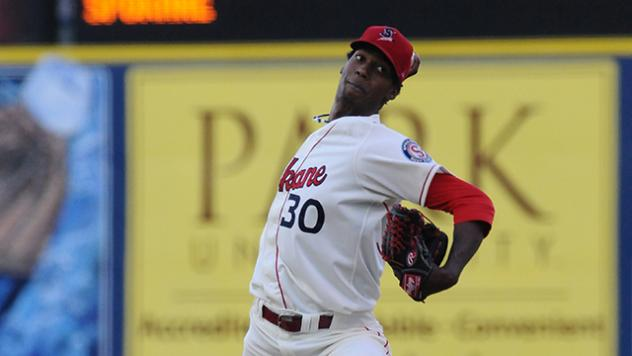 David Perez pitching with the Spokane Indians