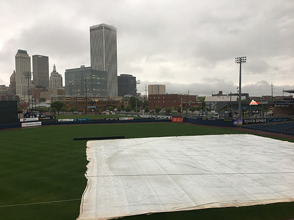 The tarp on ONEOK Field, home of the Tulsa Drillers