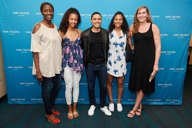Comedian Trevor Noah and members of the Las Vegas Aces at Park Theater