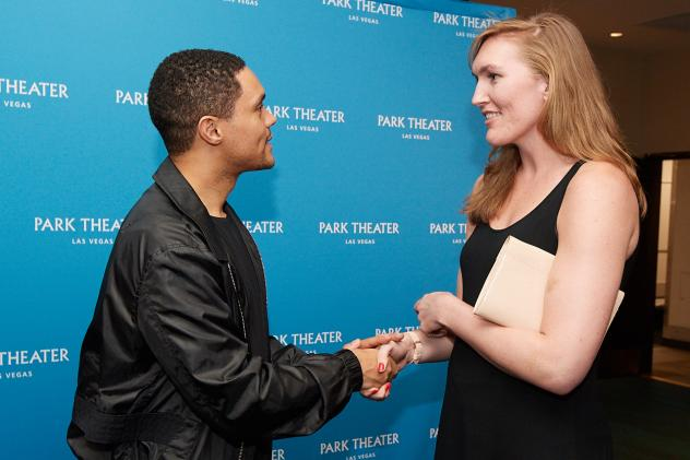 Comedian Trevor Noah and Carolyn Swords of the Las Vegas Aces at Park Theater