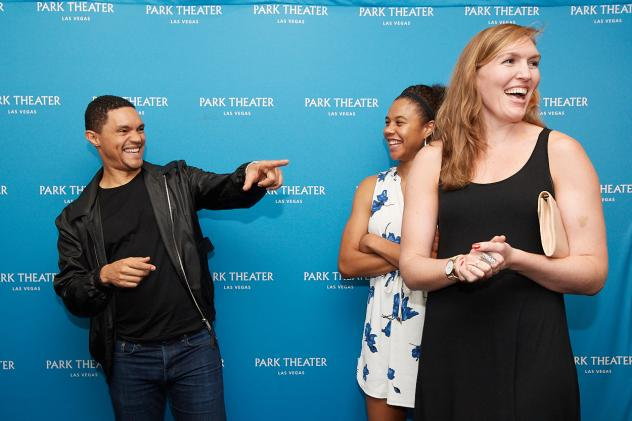 Comedian Trevor Noah shares a laugh with Nia Coffey and Carolyn Swords of the Las Vegas Aces at Park Theater