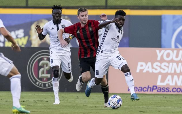Bethlehem Steel FC midfielder Chris Nanco races for the ball against Atlanta United 2