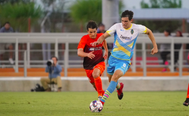 Las Vegas Lights FC with possession vs. Rio Grande Valley FC