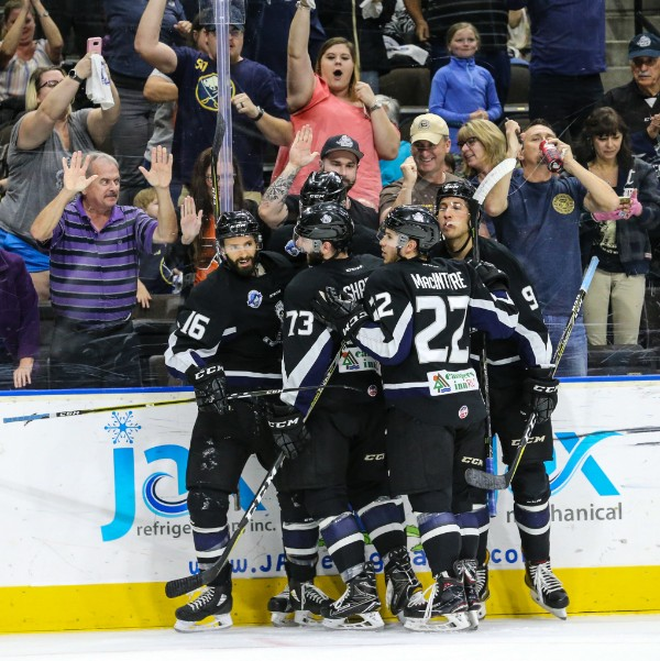 Jacksonville Icemen and fans celebrate