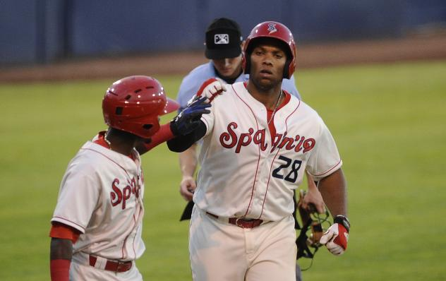 Spokane Indians 1B Curtis Terry rounds the bases after his home run