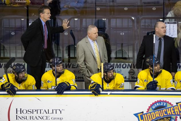 Mark Dennehy behind the bench at Merrimack College