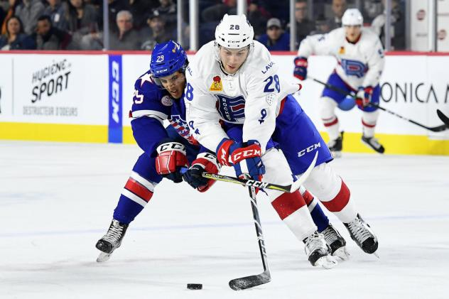 Forward Yannick Veilleux with the Laval Rocket