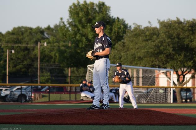 Brazos Valley Bombers prepare to deliver a pitch