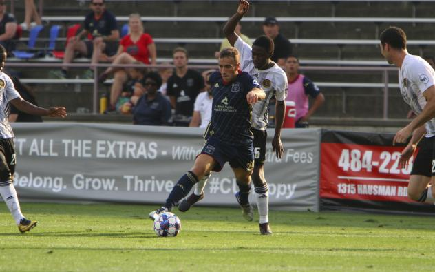 Santi Moar of Bethlehem Steel FC maintains possession against the Pittsburgh Riverhounds