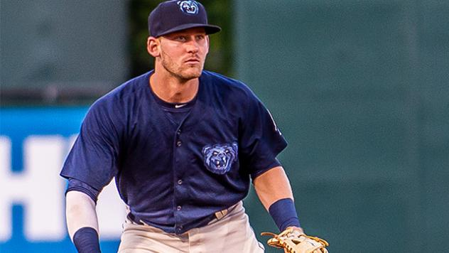 Third baseman Taylor Ward with the Mobile BayBears