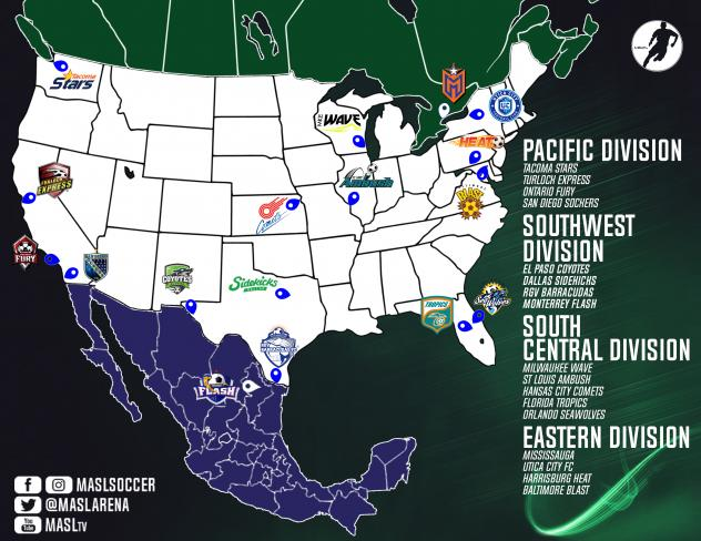 Major Arena Soccer League (MASL) Team Map