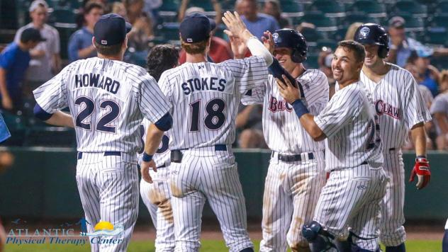 Lakewood BlueClaws celebrate a walk-off win