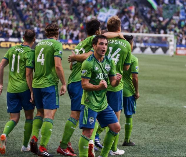 Seattle Sounders FC celebrates Nico Lodeiro's game-winning goal last Saturday vs. FC Dallas