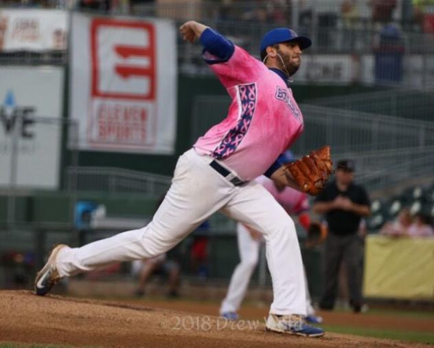 David Palladino of the Rockland Boulders delivers a pitch in Saturday night's Rockland victory