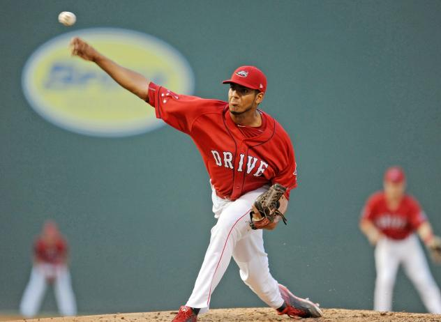 Greenville Drive pitcher Denyi Reyes delivers