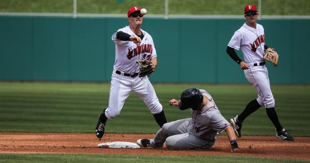 Indianapolis Indians second baseman Kevin Kramer throws to first