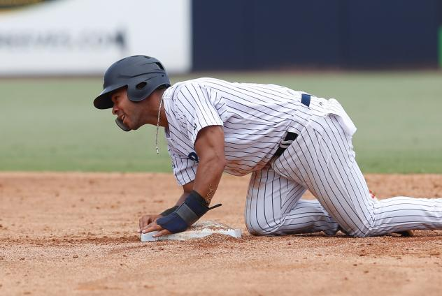 Dom Thompson-Williams of the Tampa Tarpons collects himself after sliding into second