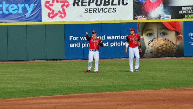 Hickory Crawdads in the outfield
