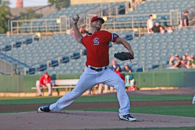 Austin Voth of the Syracuse Chiefs was perfect through five and two-thirds innings Sunday