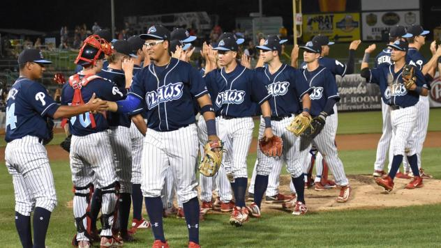 Lakewood BlueClaws congratulate each other on a win