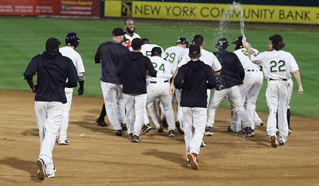 Long Island Ducks celebrate a waddle-off win