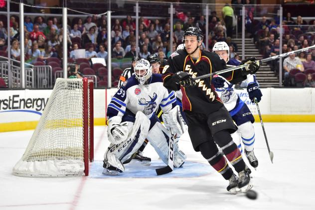 Forward Kale Kessy with the Cleveland Monsters