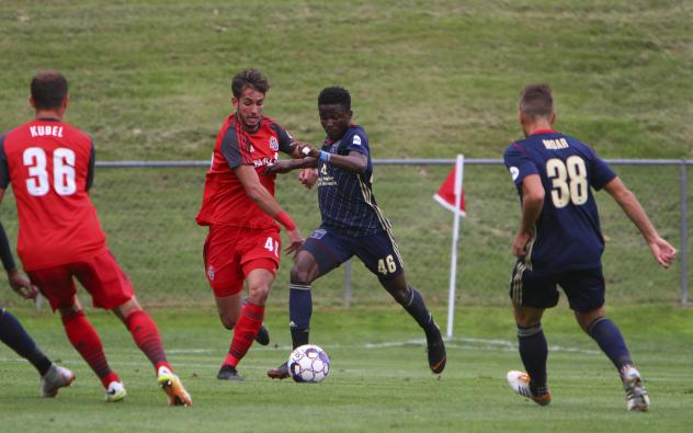 Michee Ngalina (46) of Bethlehem Steel FC battles for possession vs. Toronto FC II