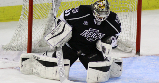 Goaltender Peter Budaj with the Ontario Reign