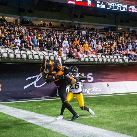 B.C. Lions receiver Bryan Burnham vs. the Hamilton Tiger-Cats