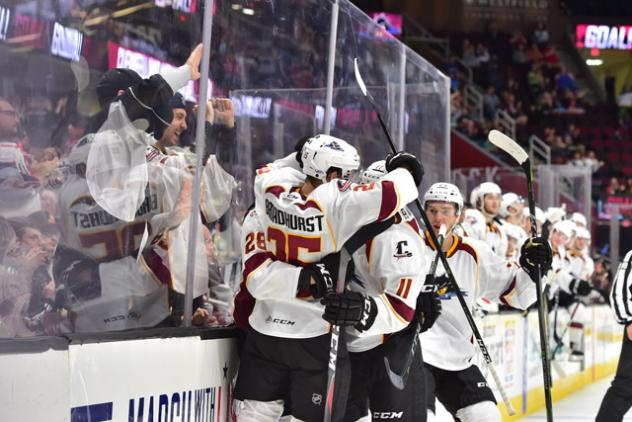 Alex Broadhurst and the Cleveland Monsters celebrate a goal